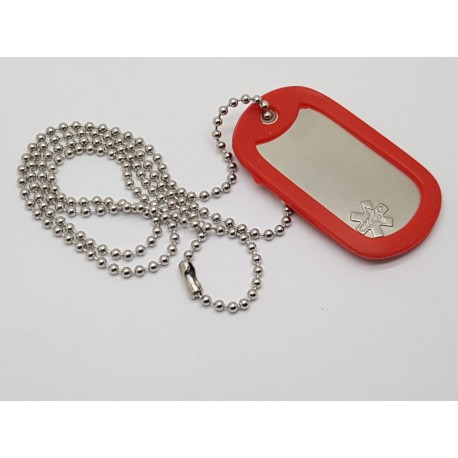 Medical Alert Dog Tag Rolled Edge Military Style