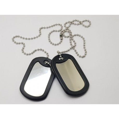 Military Dog Tag Set with Rolled Edge