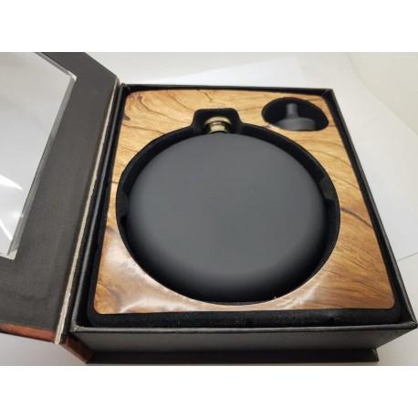 Round Black Personalised Hip Flasks (220ml)