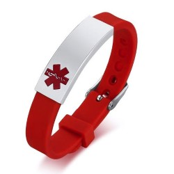 Red Silicone Medical Alert Bracelet