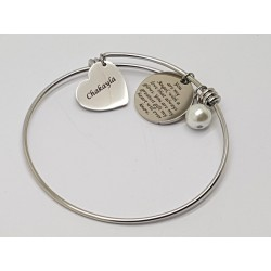 Heart & Disc Stainless steel Bangle