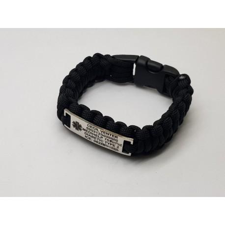 Black Para-cord Medical Alert Bracelet