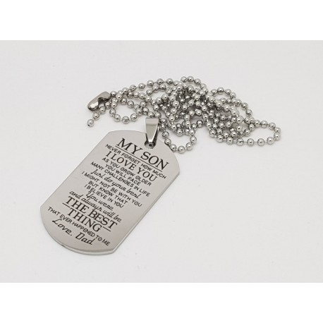 To My Son Printed Dog Tag