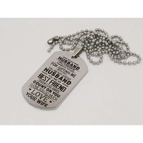 To My Husband Printed Dog Tag