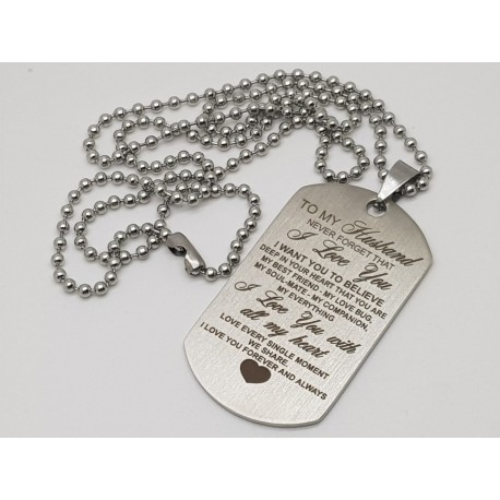 To My Husband Engraved Dog Tag