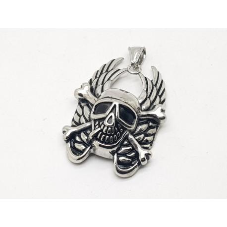 Winged Skull & Bones Pendant