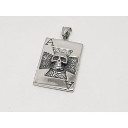 Skull on Playing Card Pendant