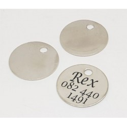 Nicle Plated Brass Round Pet Tag