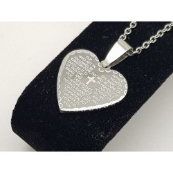 Our Father Prayer Heart Pendant & Chain