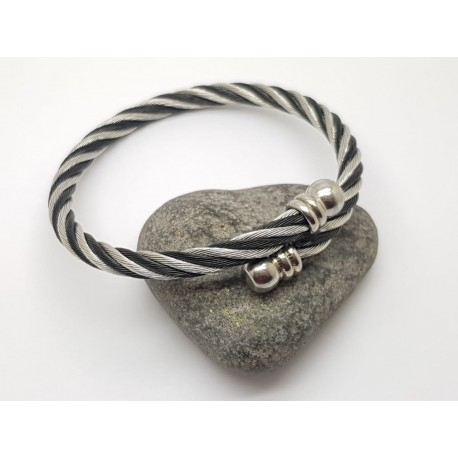 Two Tone Stainless Steel Twisted Wire Bangle