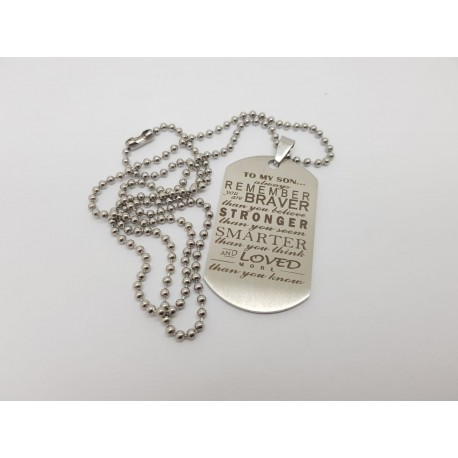 To My Son Engraved Dog Tag 1